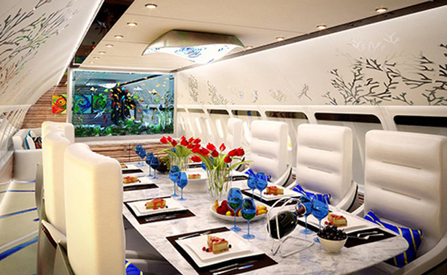 Dining room with fish tank on private jet