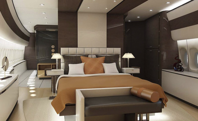 Master bedroom on private jet